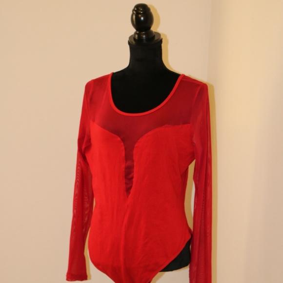 4c065f9d5b Red Mesh Long Sleeve Bodysuit
